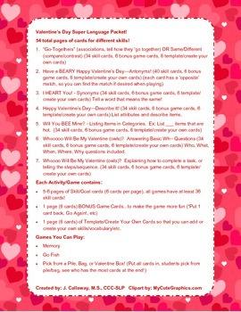 Valentine's Day Super Language Packet!