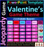 Valentine's Day Theme Interactive Jeopardy template with t