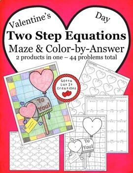 Valentine's Day Math Two Step Equations Bundle - Valentine