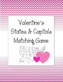 Valentine's Day US States and Capitals Matching Game. Hist