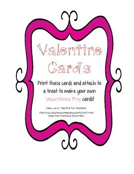 Valentine's Day Valentine Cards for Treats