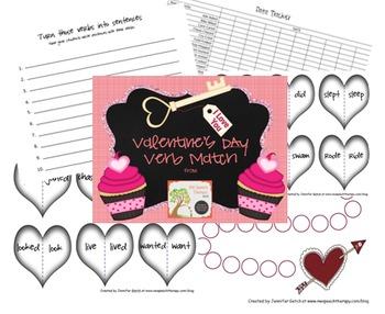 Speech Therapy: Valentine's Day Verb Match