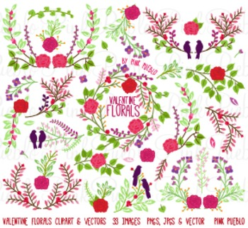 Valentine's Day Vintage Laurels and Florals Clipart Clip A