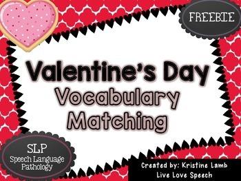 Valentine's Day Vocabulary Matching {FREEBIE}