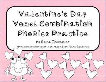 Valentine's Day Vowel Combination Phonics Practice Packet