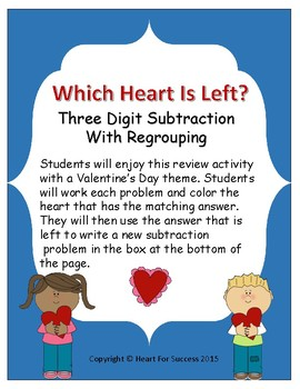Valentine's Day: Which Heart Is Left? (Three Digit Subtrac