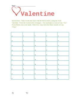"Valentine's Day ""Word Maker"" with Beginning Letters"