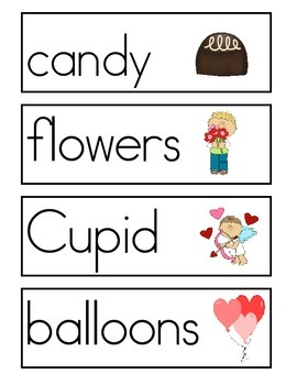 Valentine's Day Word Wall Vocabulary Cards and Story Paper