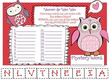 Valentine's Day Word Work - Mystery Word