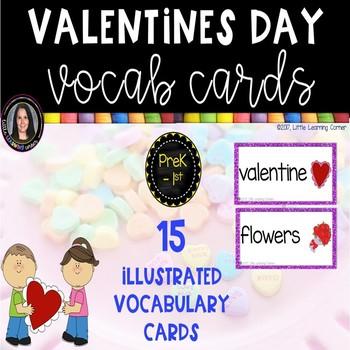 Valentines Day Vocabulary Word Cards - Chevron