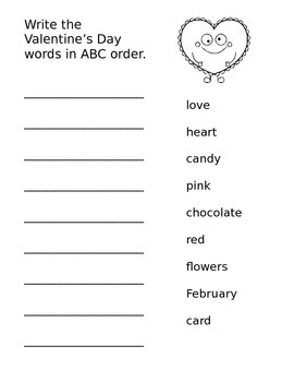 Valentine's Day Words in ABC Order
