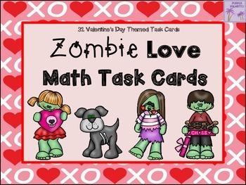 Valentine's Day Zombie Love Math Task Cards