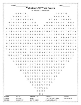 Valentine's Day /d/ Word Search