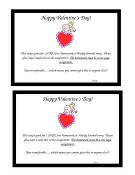 Valentine's Day free homework pass