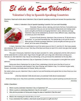 Valentine's Day in Spanish-Speaking Countries Sub Plan
