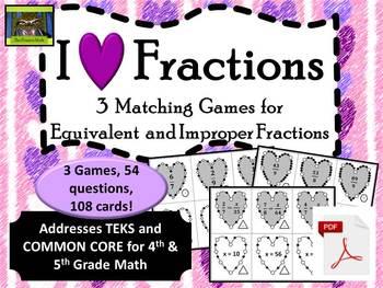 Valentine's Day Fractions Games--Equivalent & Improper (TE