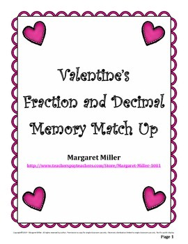Valentine's Fraction and Decimal Memory Match Up