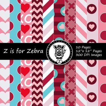 Digital Paper Digi Scrapbook Valentines