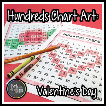 Valentine's Day Heart and Rose Hundreds Chart Art (Mystery