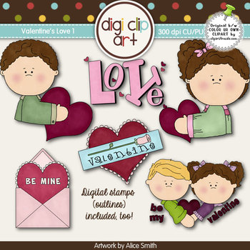 Valentines Love 1-  Digi Clip Art/Digital Stamps - CU Clip Art