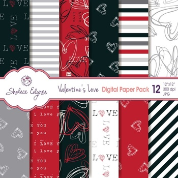 Valentines Love Digital Paper Pack 12x12 - Red & Black