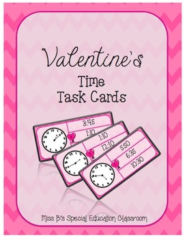 Valentine's Match the Time Task Cards