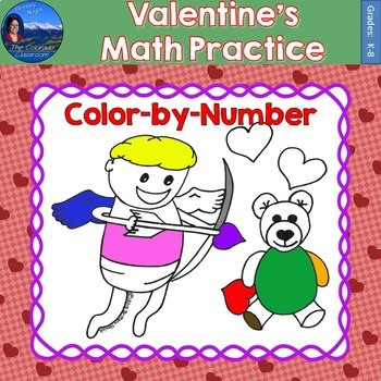 Valentines Math Practice Color by Number Grades K-8
