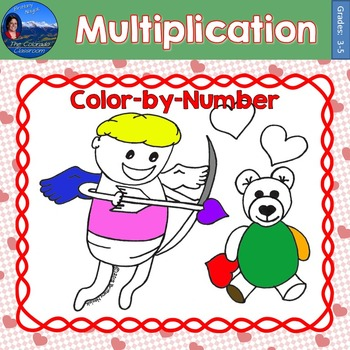 Multiplication Math Practice Valentines Color by Number