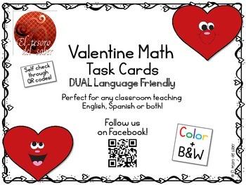 Valentine's Math Task Cards - DUAL Language Friendly