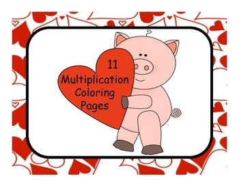 Valentines Basic Multiplication Coloring Pages