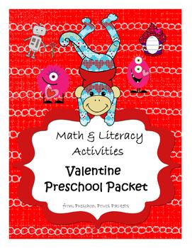 Valentines Preschool Packet - Math & Literacy Preschool Ac
