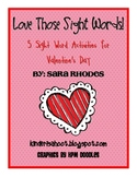 Valentine's Sight Word Activity Packet
