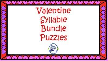 Valentine's Syllable Puzzles BUNDLE