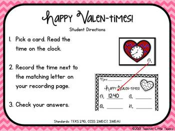Valentine's Telling Time Freebie {to the nearest 5 minutes}