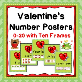 Valentine's Day Number Posters (0-20 with Ten Frames)