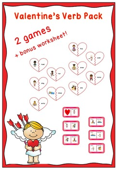 Valentine's Verbs  - 2 games + bonus worksheet