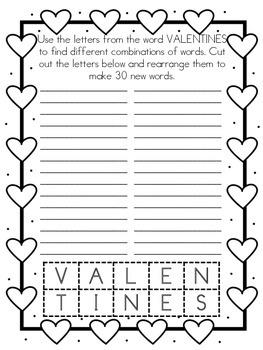 Valentine's Word Scramble Freebie
