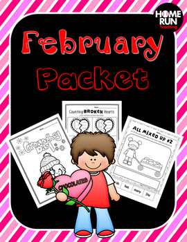 Valentines and February Math and Literacy Packet
