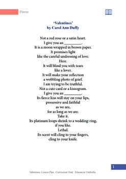 Valentines by Carol Ann Duffy Student Handout