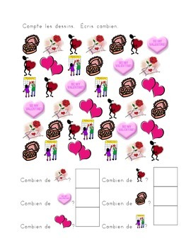 Valentines counting worksheets in French