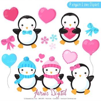 Valentines day Penguins Clipart Scrapbook printables vecto