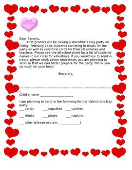 Valentines day letter - note home - party - Letter home  -