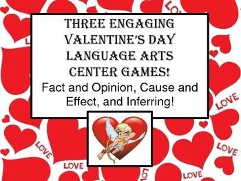 Valentine's Literacy Centers Games Test Prep Cause Effect