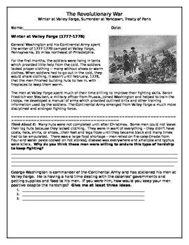 Valley Forge, Yorktown, Treaty of Paris Comprehension