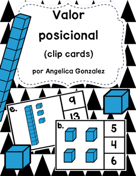 Valor positional 1-20 (Place Value clip cards SPANISH)