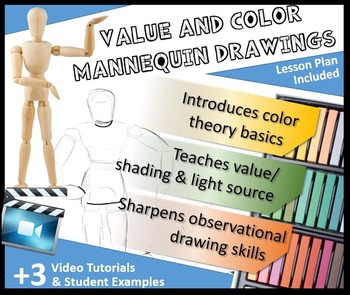 Value & Color Mannequin Drawings Including Light Source Bl