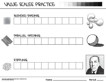 Value Scales Practice - Blended Shading, Parallel Hatching