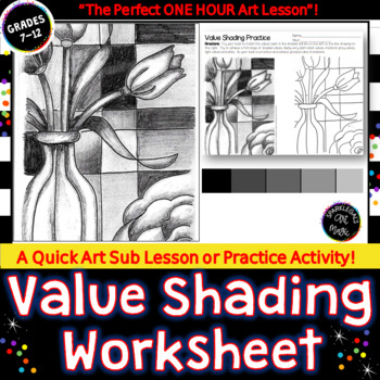 Value Shading Practice Worksheet  SUB PLAN  or  Printable