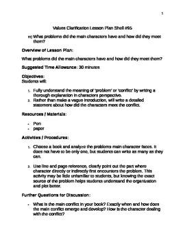 Values Clarification Lesson Plan Shell #95