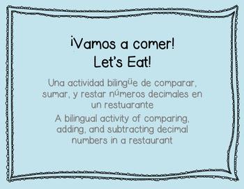 Vamos a Comer - A bilingual decimal activity
